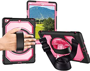 6th Generation iPad Case, Full Body Rugged Shockproof iPad 9.7 Case Cover 2017/2018 with Rotating Stand, Hand Strap and Shoulder Strap, Heavy Duty iPad 5th/6th Generation Case for Kids, Rose Red