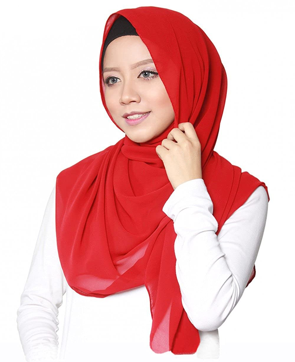 Hijab pour femmes musulmanes voil/ées I Foulard voile turban /écharpe pashmina ch/âle robe islamique I Mousseline de soie I 75x180cm SAFIYA