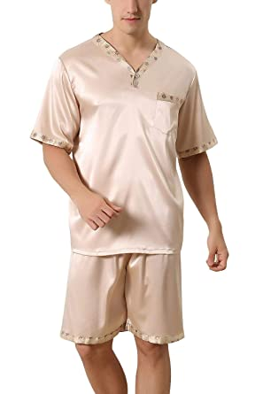 5489de0d96 Men s Pajamas Pajamas Satin Short Two Pajamas Young Fashion Piece Summer Mens  Pajamas with Short Bottoms