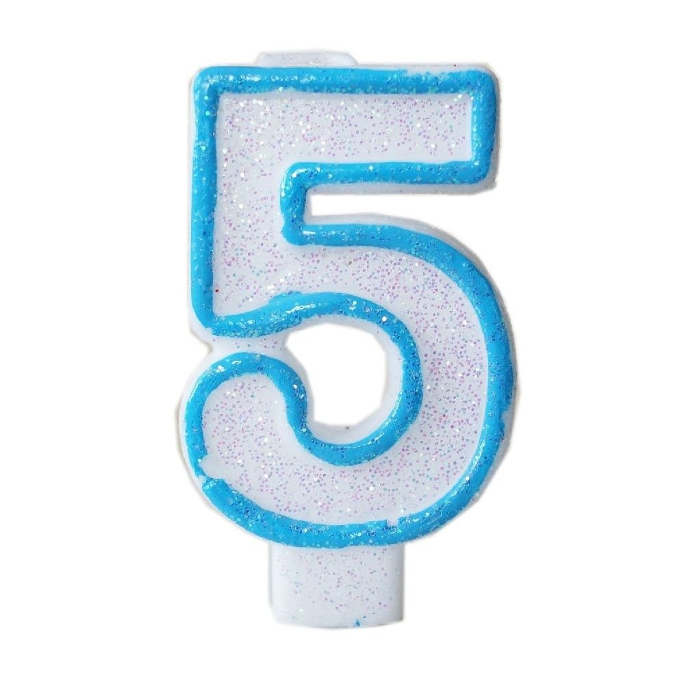 Dorigan home series Blue Glitter Numeral 5 Number Candle White Premium 5Th Birthday Cake Candle