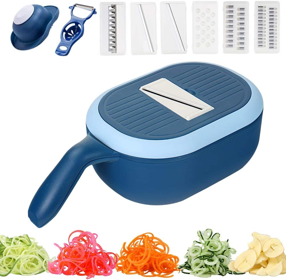 Sorlakar Vegetable Chopper Slicer with Container, 4 Interchangeable Blades Vegetable Grater Cutter and Dicer with Egg Seperator for Cheese, Vegetables and Fruits