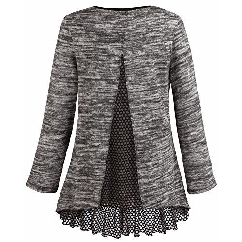 Women's Tunic Top - Heather Gray Knit Sweater With Ruffled Hemline - 2X