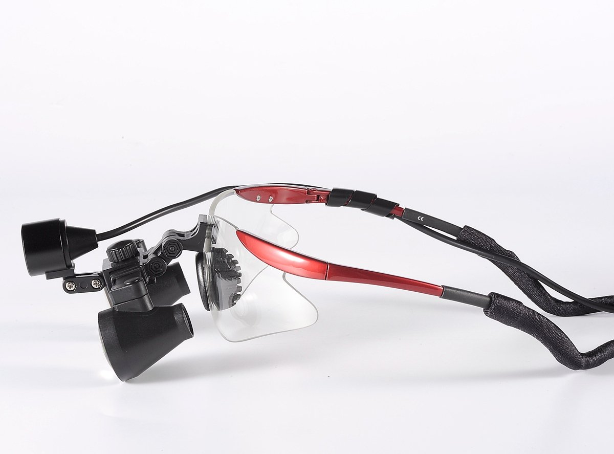 Songzi Optics (2.5X,3X,3.5X Optional) Red Goggles Frame Binocular Medical Dental Loupes Surgical Loupes & High Brightness Headlight (working distance :(360 - 460 mm)R, Magnification:2.5X)