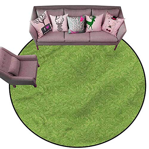 (Indoor/Outdoor Rubber Mat Green,Hand Drawn Leaves Grass Diameter 78