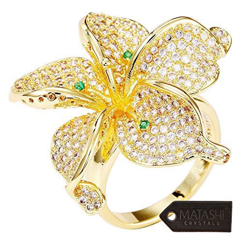 Matashi Flower Ring for Women Cubic Zirconium Gold-Plated w/Clear and Green Crystals | Intricate Floral Designs | Trendy Fashion for Girls, Teens, Ladies Size 7 ()