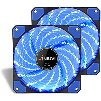 2 Pack Blue 120mm Case Fan Cooling PC and Light Up Computer Case with Cool Look, Long Life Bearing with DC 15 LED Illuminating PC Case. Quiet Durable Fans Enhance Performance of Tower