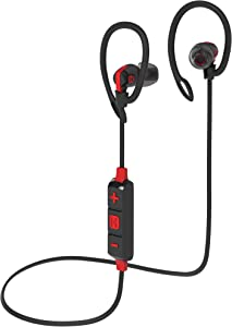 iHome Bluetooth Wireless Water-Resistant Sport Earphones with Mic Remote and Sport Clips Black/Red (iB79BRC)