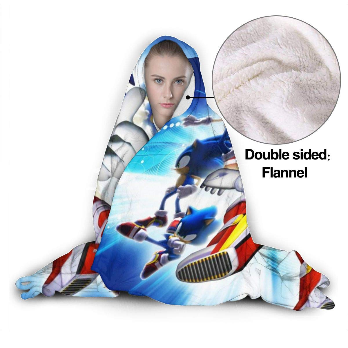 Against Shedding Cloak Shawl Wrap Spring Wearable Blankets for Boys Girls Sonic Adventure 2 Game Art Poster Hooded Blankets for Wedding Gift Park 50 x40 inch