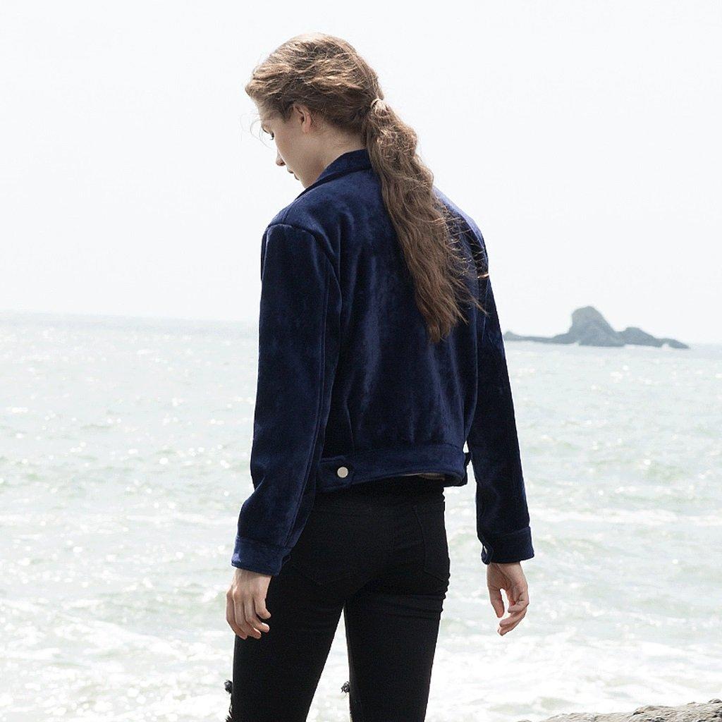 LI SHI XIANG SHOP Autumn short coat female Hong Kong style jacket shirt baseball clothing (Color : Blue, Size : M) by LI SHI XIANG SHOP (Image #4)
