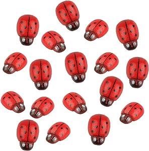 Yidainline Mini Ladybug Beatles Miniature Figurines, Fairy Garden Accessories Fairy Garden Supplies Micro Landscape - Plant Pots Bonsai Craft Decor Ladybug 10Pcs