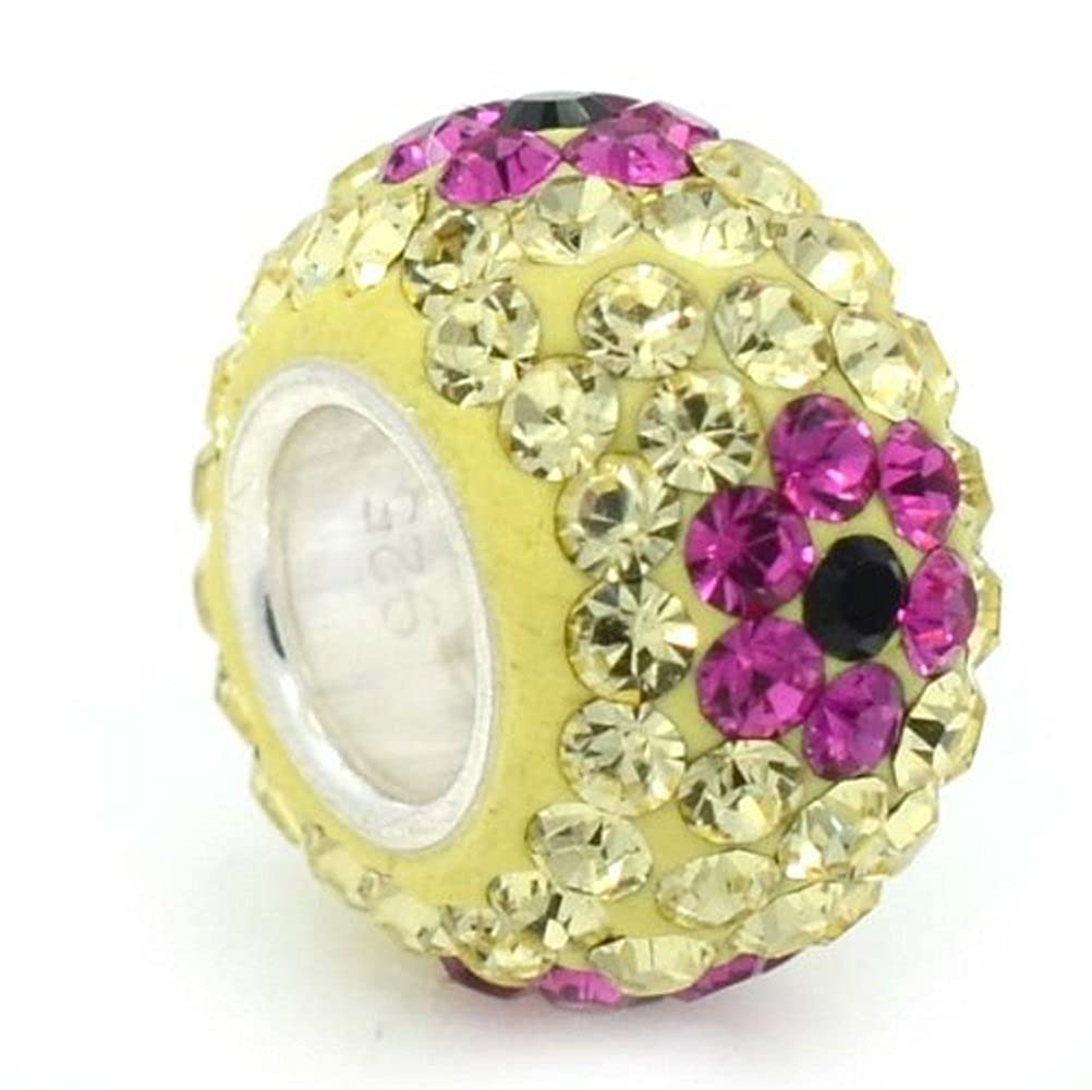 Solid 925 Sterling Silver Light Green with Fuchsia and Black Crystal Flowers Charm Bead for European Snake Chain Bracelets