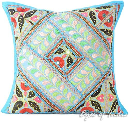 decorative boho accent unique pretty patchwork 16x16.htm amazon com eyes of india 16  blue embroidered patchwork sofa  blue embroidered patchwork sofa
