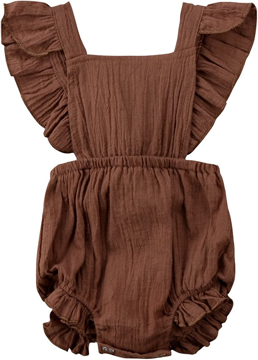Toddler Baby Girls Bodysuits Long Sleeve Ruffle Shoulder Rose Printing Retro Rompers Jumpsuits for 0-24 Months