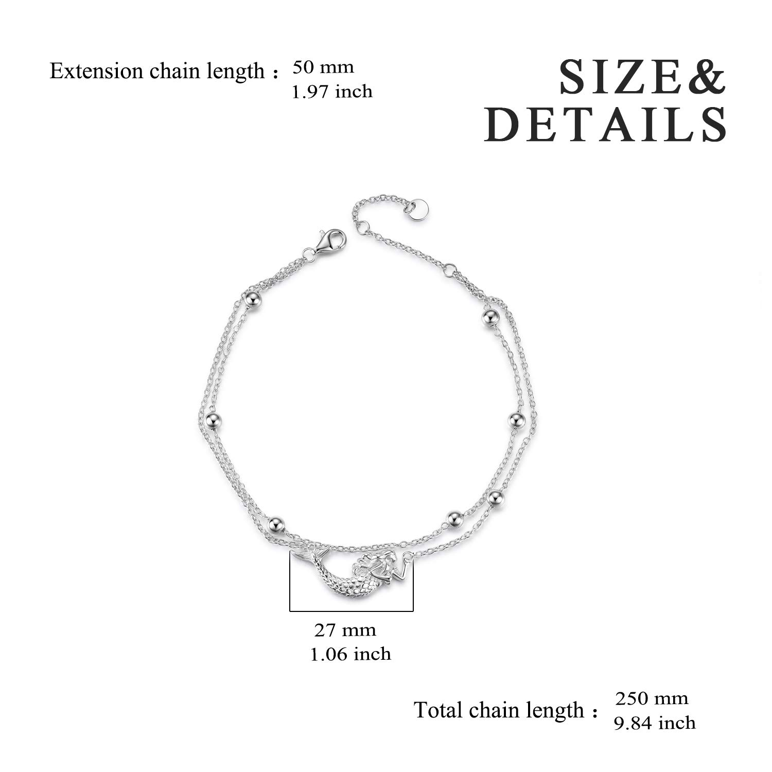 Ball Bead Bracelet,Ball Bead Anklet Sterling Silver Italy Thin Box Layer Chain Anklets for Women Teen Girls Beach Bracelets Anklets Jewelry