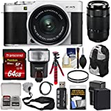 Fujifilm X-A5 Wi-Fi Digital Camera & 15-45mm XC Lens (Silver) with 50-230mm Lens + 64GB Card + Battery & Charger + Backpack + Tripod + Flash + Kit
