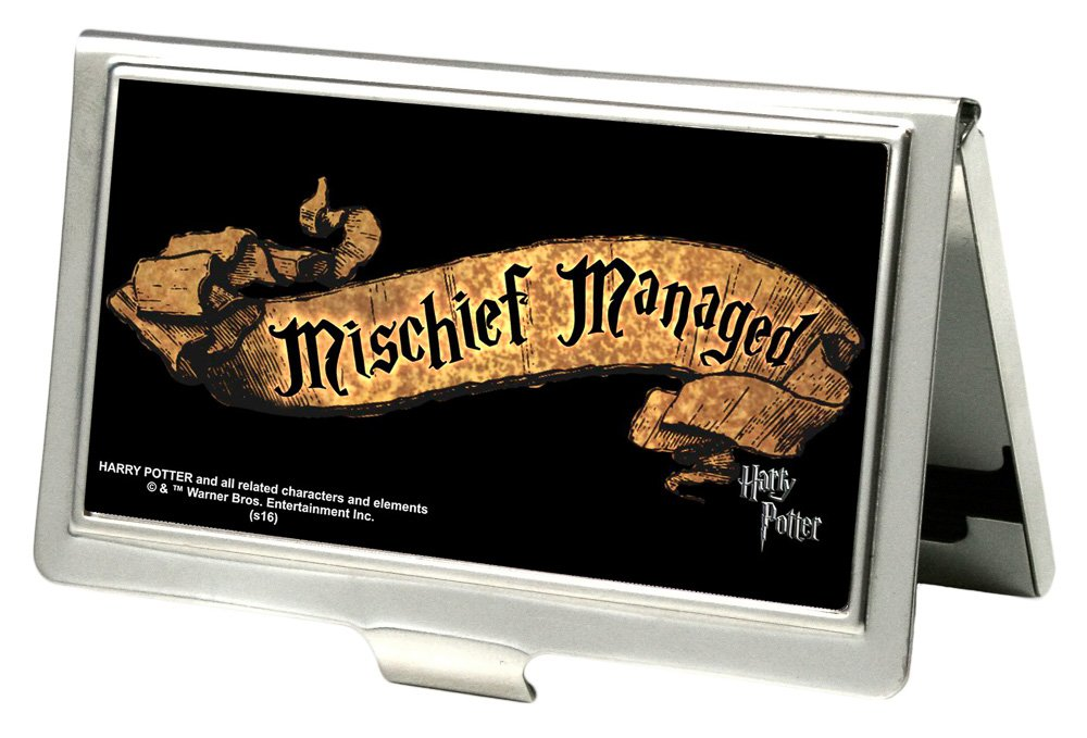 Buckle-Down Business Card Holder Harry Potter MISCHIEF MANAGED Banner Black//Tan Small