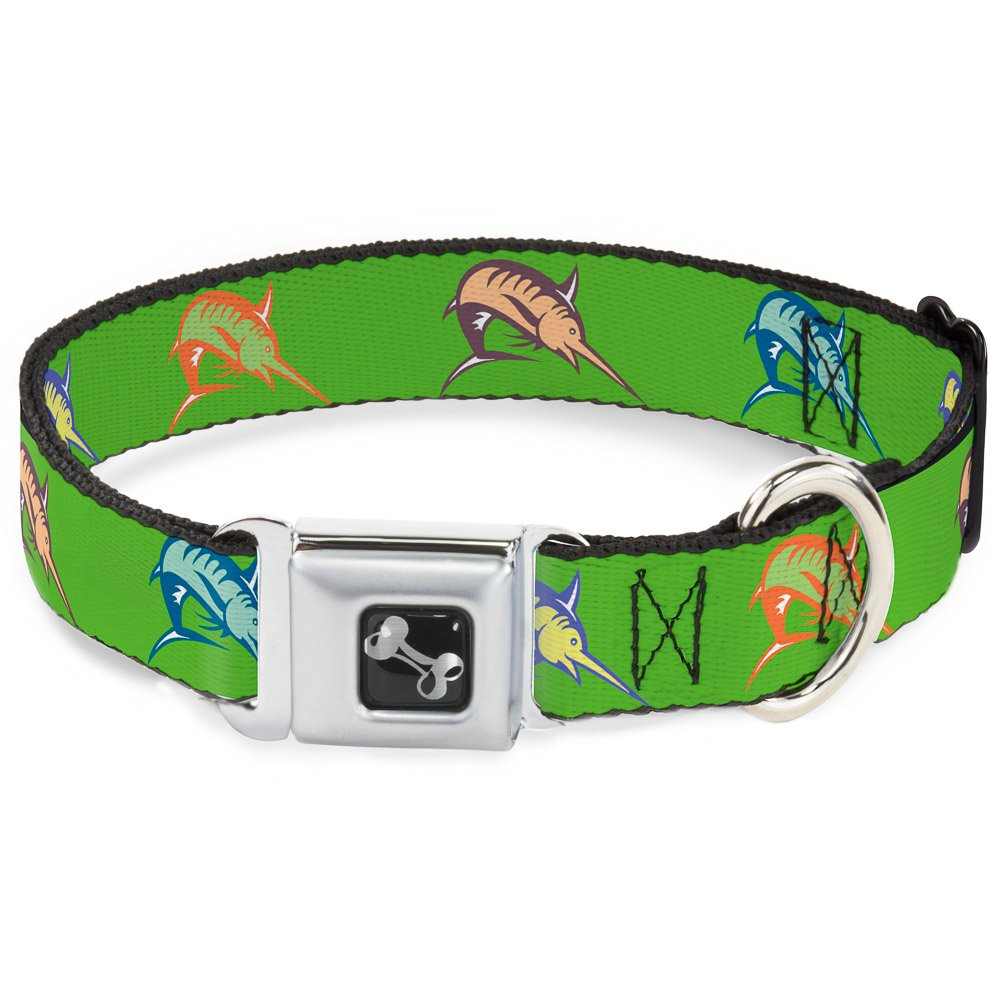 Buckle-Down Seatbelt Buckle Dog Collar Marlin Green Multi color 1.5  Wide Fits 18-32  Neck Large