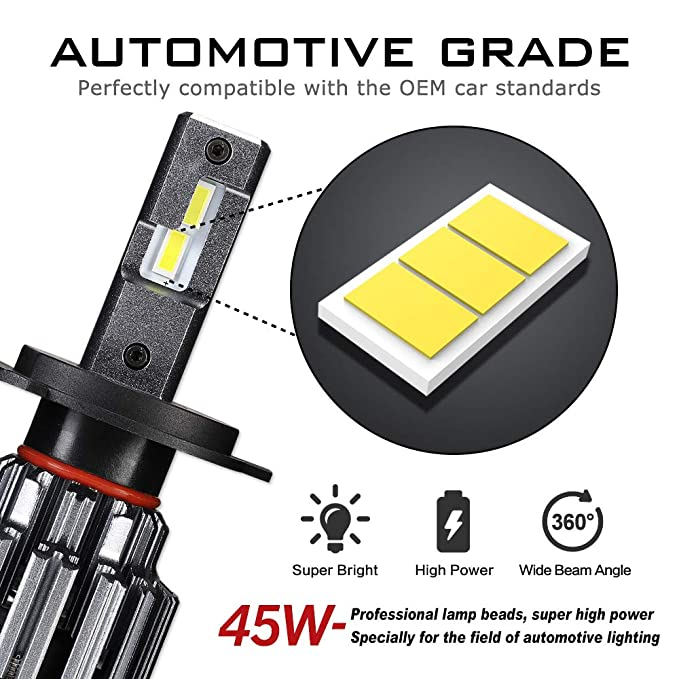 Amazon.com: H4 9003 LED Headlight Bulbs TX SMD LED Chips All-in-One Conversion Kit 6000K Cool White 45W 12000LM(6000LMx2) 2 Year Warranty: Automotive