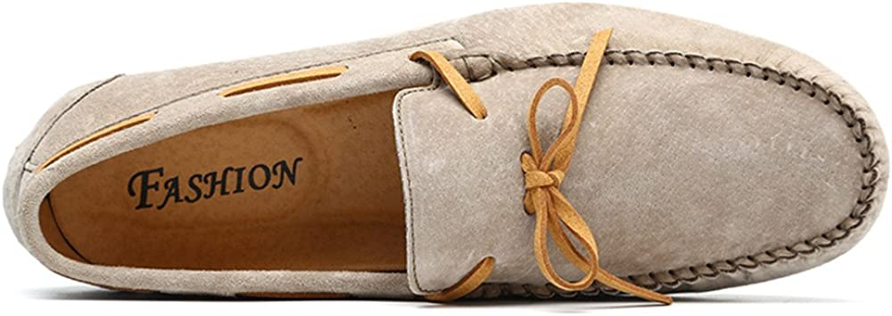 Zhulongjin Men's Penny Driving Loafers for Casual Leather Frosted with Breathable Flat Soles Boat Moccasins Shoes Wear-Resistant Khaki