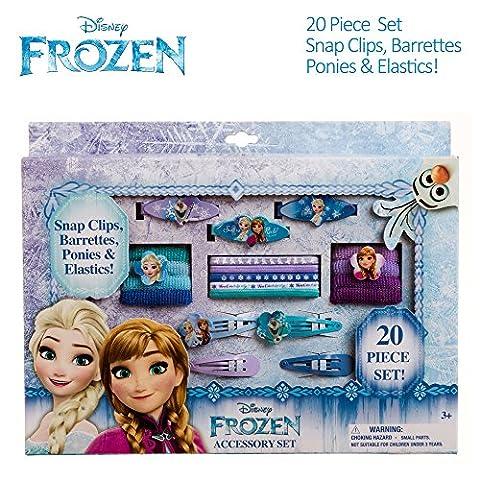 Disney Frozen Girls Hair Accessories Box Set Barrettes Clips Terries Elastics (Disney Pin Grab Bag)