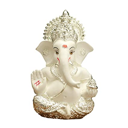 Rp Collections Silver Plated Ceramic Lord Ganesh Idol For Car Dashboard White