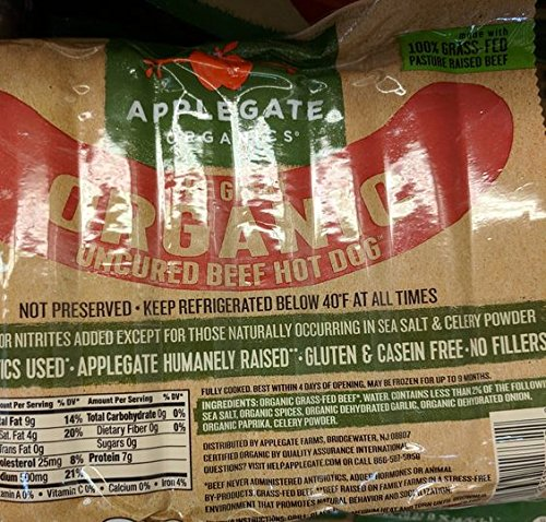 Applegate Organic Uncured Beef Hot Dogs 20 Oz (2 Pack) (Grass Fed Franks Beef)