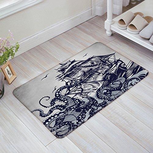 Kraken Sail Boat Waves and Octopus Monster Doormats Home Decorative Door Mats Non Slip Backing Rubber Rugs Shoes Scraper Carpet for Indoor/Front Door/Bathroom/Kitchen/Bedroom 15.7