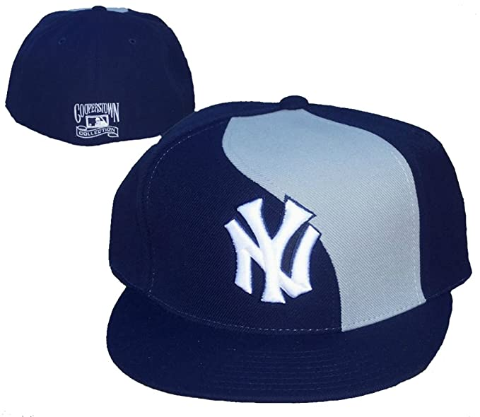 e284f321 Amazon.com : New York Yankees Fitted 7 1/4 Navy Blue & Gray Wave Hat ...