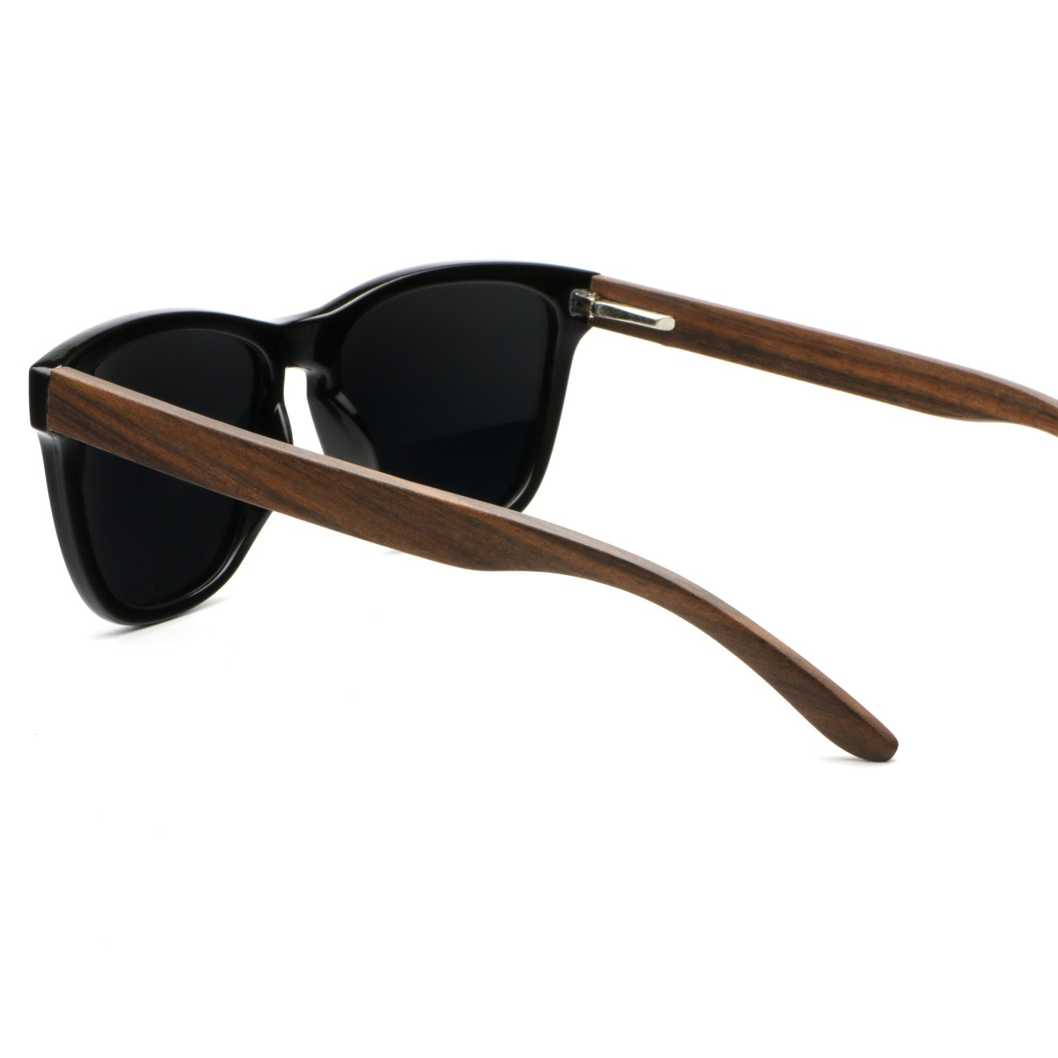 Ablibi Bamboo Wooden Wayfarer Sunglasses Polarized Driving Eyewear in Wood Box (Ebony, Grey)
