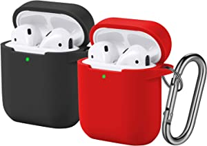 [2 Pack] Funbiz Designed for Airpods Case Cute Silicone Cover with Keychain for Girls Boys, Cool Protective Charging Case Skin Compatible with Apple Airpods 2 & 1, (Front LED Visible) Black/Red