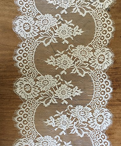 (LaceRealm13 x 120 Inchs White Lace Classy Fringe Edge Floral Table Runner for Bridal Shower Boho Wedding Decorations (White))