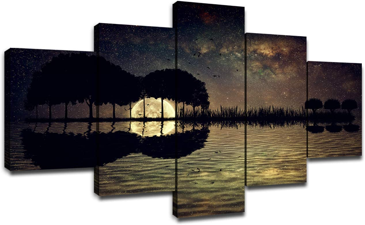 Guitar Island Moonlight Wall Decor Canvas Prints Starry Sky Picture 5 Panel Wall Art for Living Room Home Guitar Painting Landscape Poster Framed Contemporary Artwork Ready to Hang(60''Wx32''H)