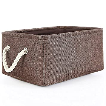 TheWarmHome Collapsible Rectangle Fabric Bin Storage Basket With Rope  Handles Baskets For Shelves,Clothes Storage