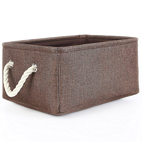 TheWarmHome Collapsible Rectangle Fabric Bin Storage Basket with Rope Handles Baskets for Shelves,Clothes Storage,Magazine Basket,Brown (For Storage Baskets Shelves Fabric)