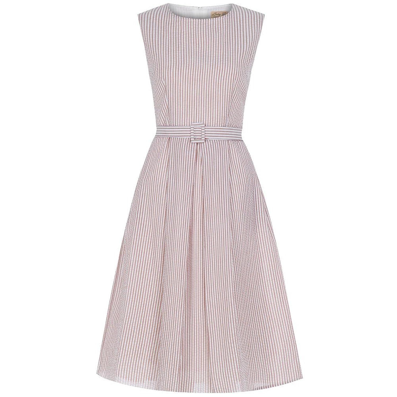Lindy Bop 'Colette' Taupe Stripe 60's Jackie O Dress