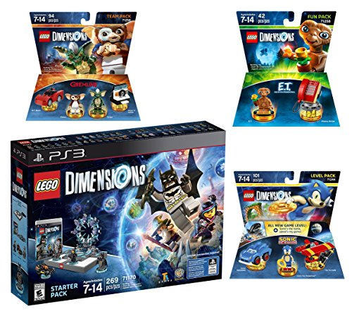 Lego Dimensions Starter Pack + Sonic The Hedgehog Level Pack + Gremlins Team Pack + E.T. Fun Pack for Playstation 3 or PS3 Slim Console by WB Lego