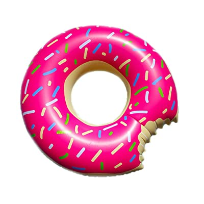 Pearl Enterprises Inflatable Giant Rideable Donut Float Toy - Floatie Ride On Blow Up Summer Fun Pool Toy Lounger Floatie Raft for Kids & Adults: Toys & Games