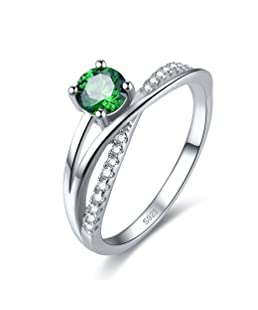 Zetaur 925 Sterling Silver Created Emerald Quartz Round Brilliant Cut Cross Split Shank Petite Micro Pave Anniversary Engagement Band Ring for Women Size 6