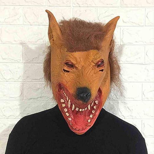 KLJAI Máscara de Cabeza de Lobo de Halloween Conjunto de Cabeza de ...