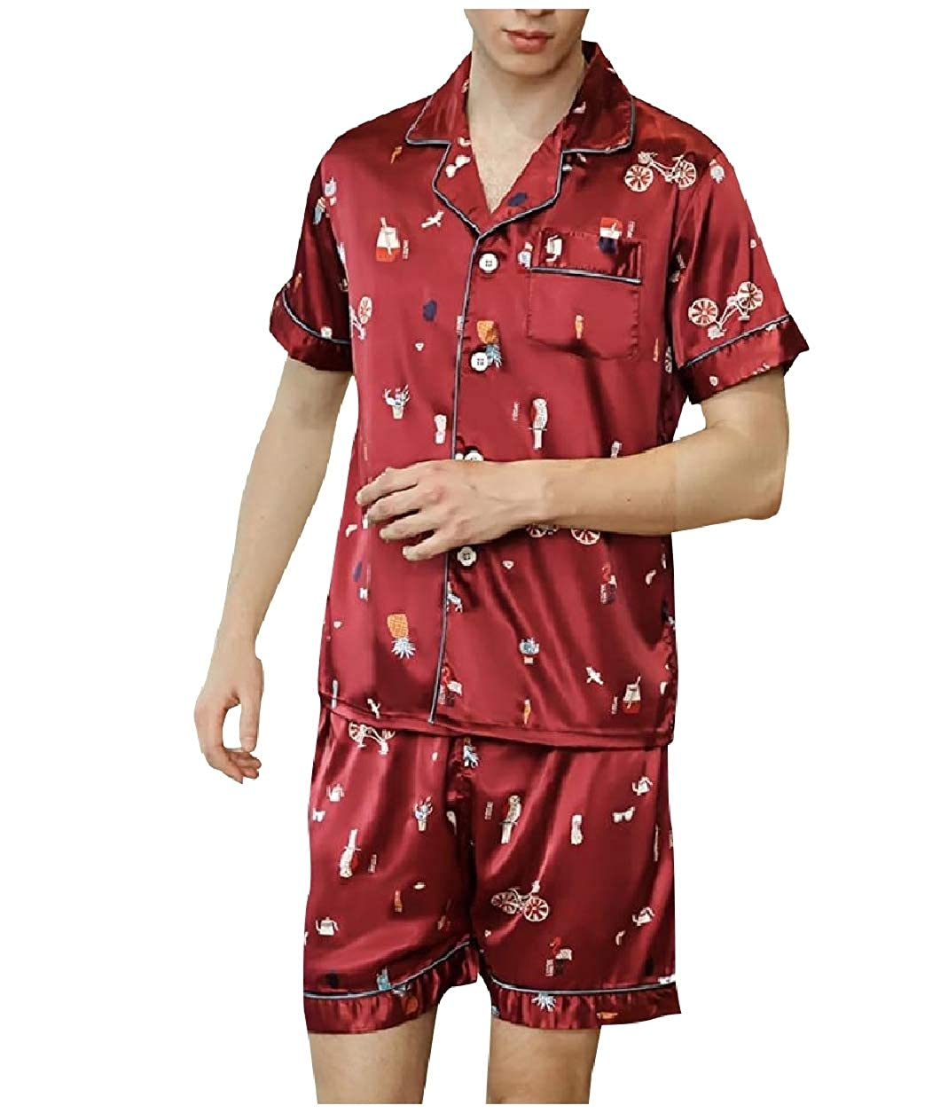Abetteric Men 2pcs Set Satin Printing Pattern Notch Lapel Sleepwear Pjs Set