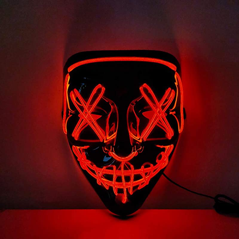 JRrutien LED Mask Halloween Cosplay Scary Purge Red Blue Light Up Mask Festival Costume Party Carnival Gifts for Adults Kids