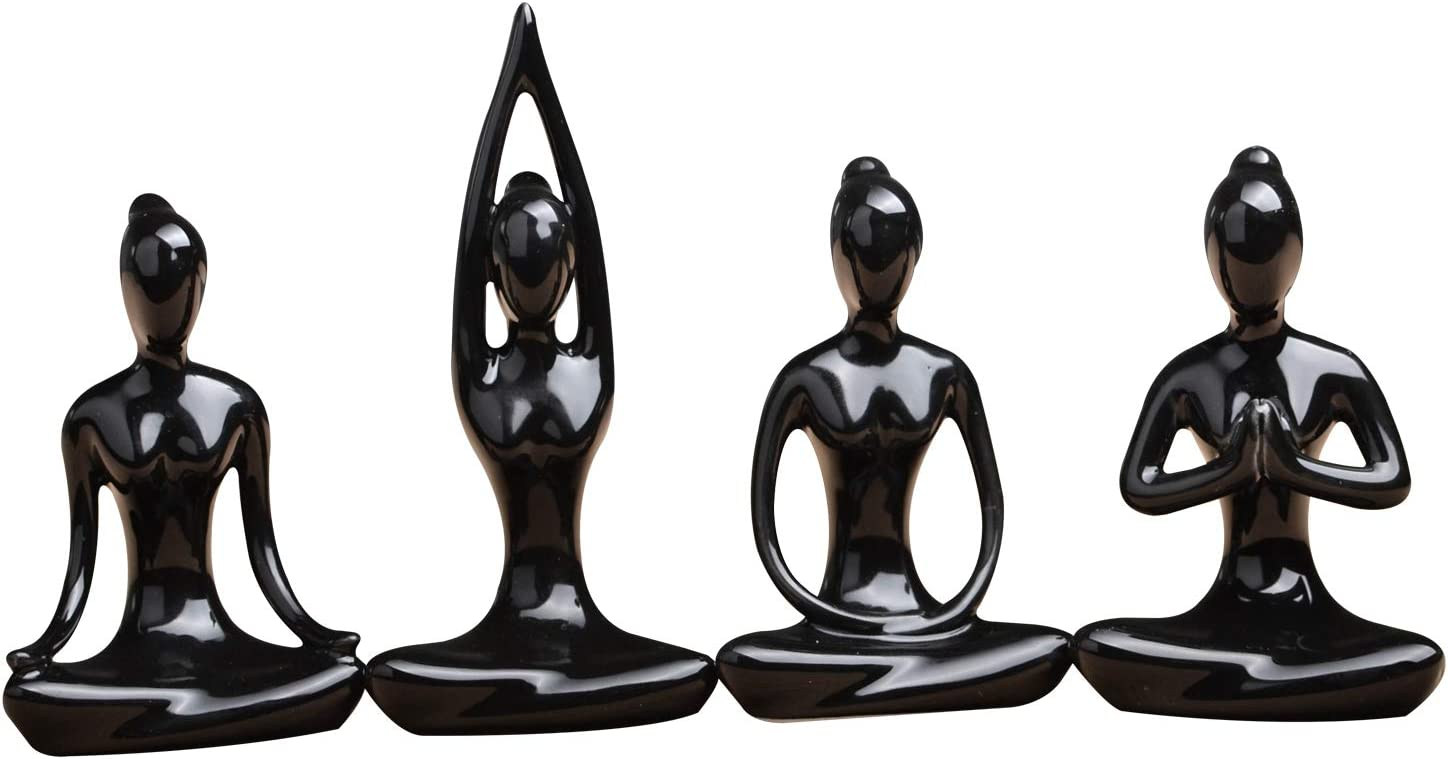 OwMell Lot of 4 Meditation Yoga Pose Statue Figurine Ceramic Yoga Figure Set Decor (Black Set)