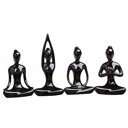 Aifeer MeditationYoga Pose Estatua Figura de cerámica Yoga Figura Set Decoración, cerámica, Juego de 4 unidades.
