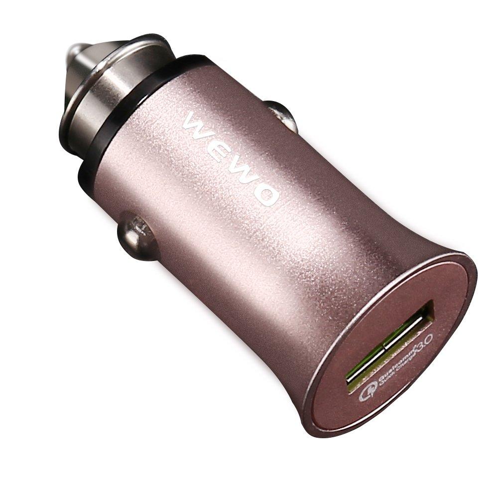 USB高速車充電器サポート高速充電1つUSBポートQualcomm Quick Charge 3.0車アダプタ B0773M3F8N  レッド