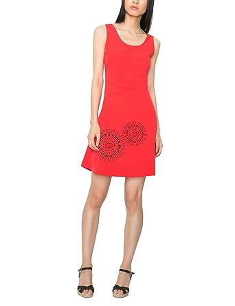 Desigual Barceloneta - Robe - Trapèze - Imprimé - Sans manche - Femme -  Rouge ( a8ffff7f07c1