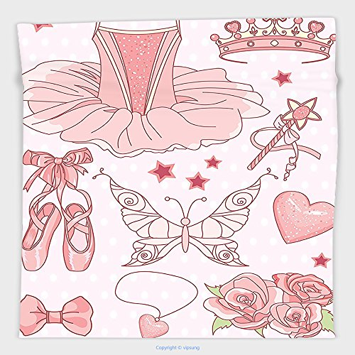 Vipsung Microfiber Ultra Soft Hand Towel-Girls Decor Collection Set Of Princess Ballerina Accessories Classic Costume Shoes Tiara Roses Image Pattern Pink For Hotel Spa Beach Pool Bath