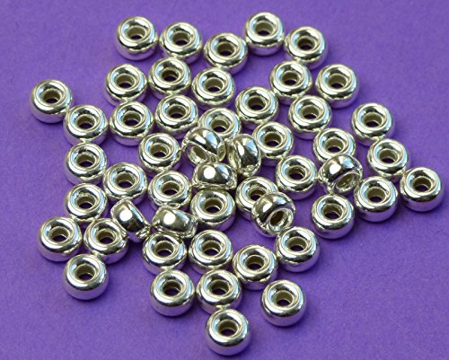 Roundel Spacer - New 4mm 925 Sterling Silver plain Rondelle Roundel Spacer Beads 12pcs
