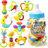 "Deardeer 9 Pcs Baby's First Rattle and Teether Toy with Giant Milk Bottle - Grasp Colorful Toy Sets  5""x13"""