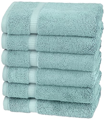 Pinzon Organic Cotton Blended Hand Towels - 6-Pack, Spa Blue (Hand Aqua Towels)