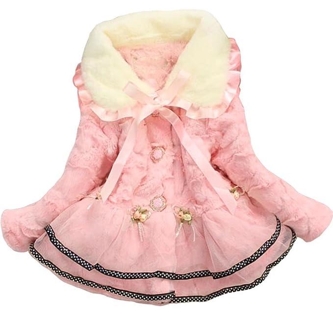 e9bde0e44f47 Amazon.com  Baby Girls Kids Faux Fur Lace Warm Jacket Winter Coat ...